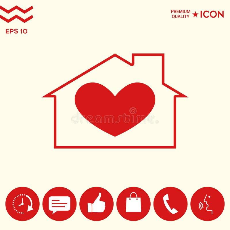 Σπίτι με το σύμβολο καρδιών ελεύθερη απεικόνιση δικαιώματος