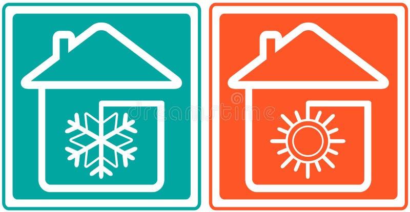 Σπίτι με snowflake και τον ήλιο. βασικό εδαφοβελτιωτικό sym ελεύθερη απεικόνιση δικαιώματος