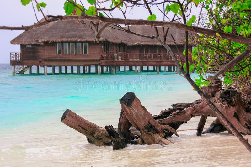 Σπίτι μπανγκαλόου νερού στην μπλε λιμνοθάλασσα στο τροπικό νησί στοκ εικόνα με δικαίωμα ελεύθερης χρήσης