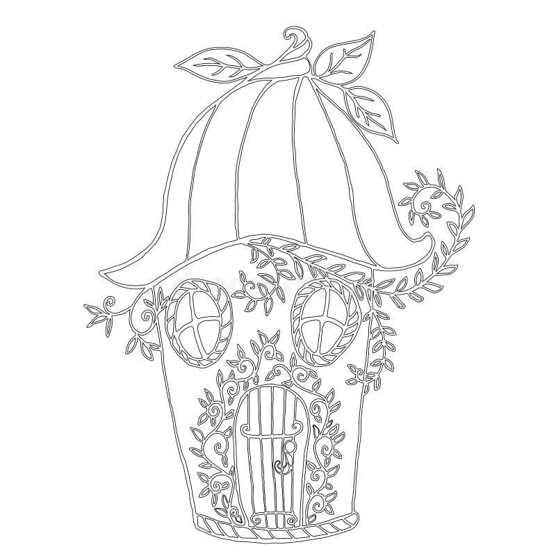 Σπίτι νεράιδων bellflower, χρωματίζοντας βιβλίο παιδιών ` s απεικόνιση αποθεμάτων