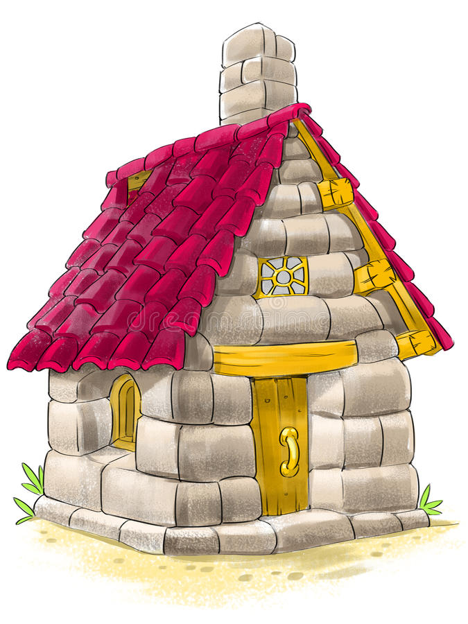 Σπίτι νεράιδων από παραμύθι τριών το μικρό χοίρων διανυσματική απεικόνιση