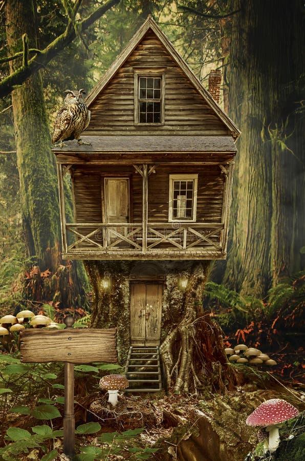 Σπίτι νεράιδων (κολόβωμα) διανυσματική απεικόνιση