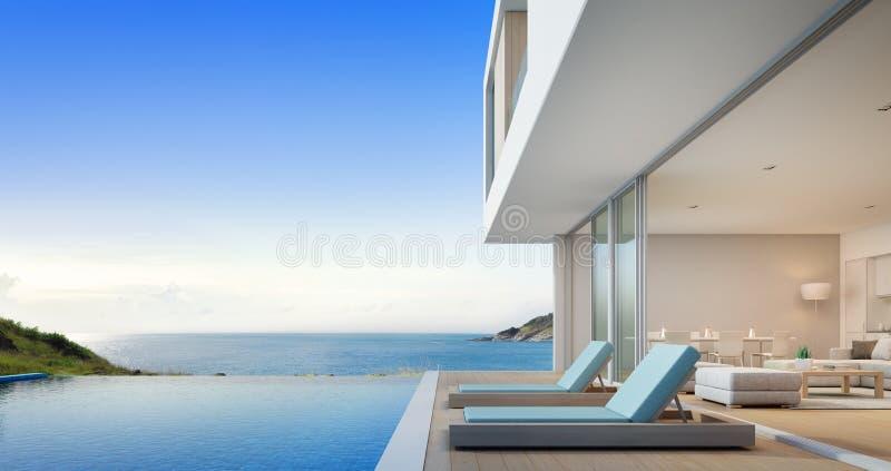 Σπίτι παραλιών πολυτέλειας με την πισίνα άποψης θάλασσας και πεζούλι κοντά στο καθιστικό στο σύγχρονο σχέδιο, το σπίτι διακοπών ή στοκ εικόνα