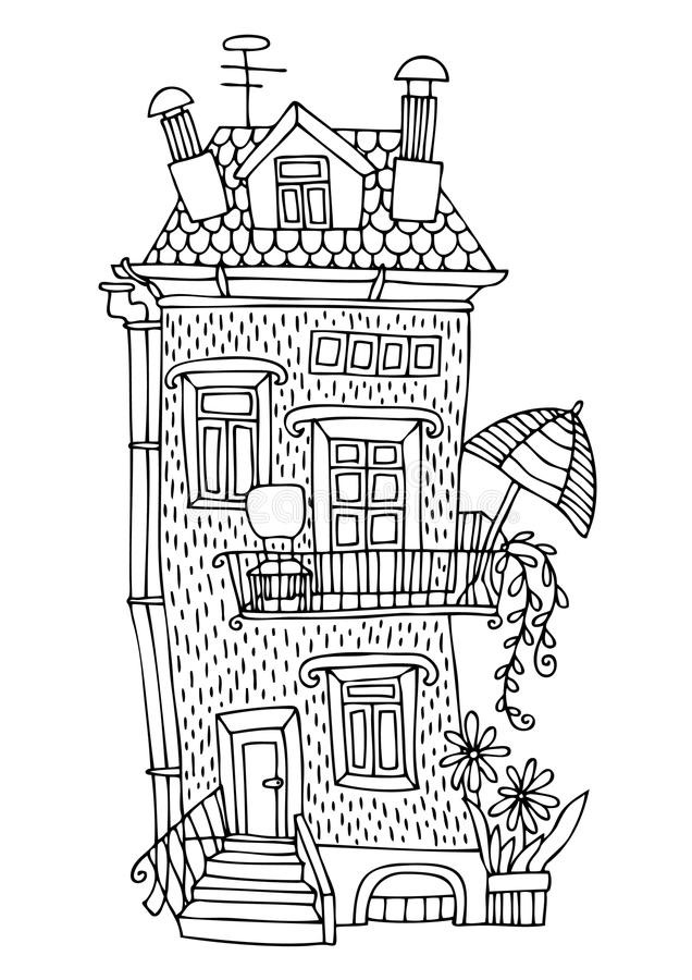 Σπίτι παραμυθιού με ένα πεζούλι και sunshade ελεύθερη απεικόνιση δικαιώματος