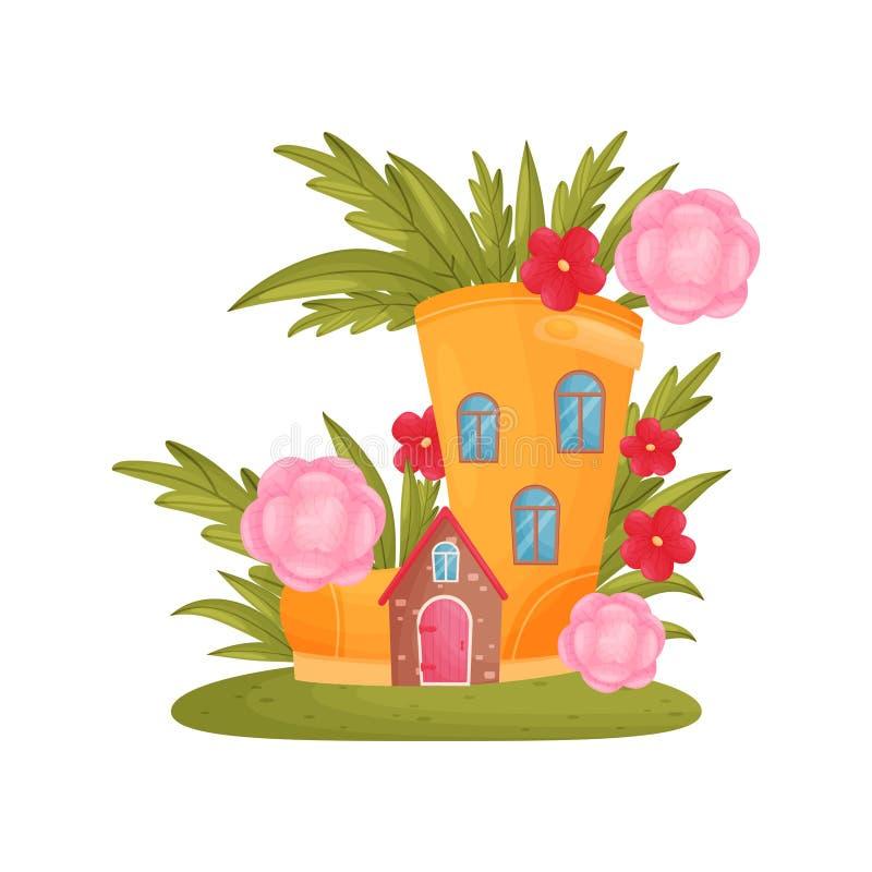 Σπίτι παραμυθιού των υψηλών μποτών μεταξύ της χλόης και των ρόδινων λουλουδιών E απεικόνιση αποθεμάτων