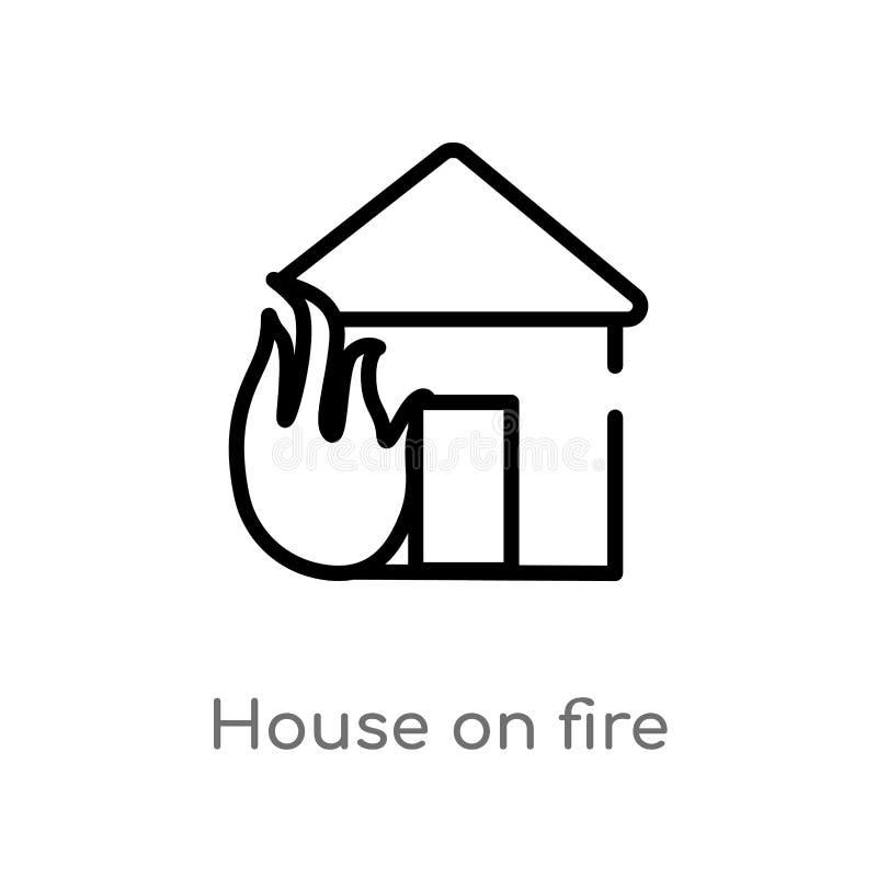 σπίτι περιλήψεων στο διανυσματικό εικονίδιο πυρκαγιάς απομονωμένη μαύρη απλή απεικόνιση στοιχείων γραμμών από την έννοια μετεωρολ διανυσματική απεικόνιση