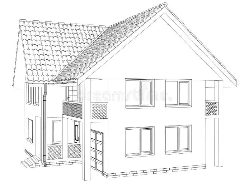 Σπίτι περιλήψεων στο άσπρο υπόβαθρο ελεύθερη απεικόνιση δικαιώματος