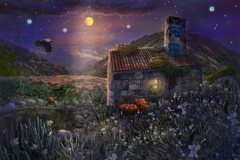 Σπίτι πετρών νεράιδων με τις φωλιές στη στέγη και λίμνη με τους βατράχους στο μαγικό δάσος της έναστρης νύχτας με το φωτεινό φεγγ διανυσματική απεικόνιση