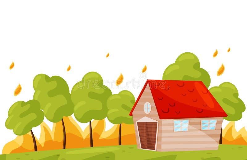 Σπίτι πλησίον διαβίωσης πυρκαγιών Πράσινα δέντρα στην καυτή πυρκαγιά Δασική φυσική καταστροφή καψίματος Επίπεδο διανυσματικό σχέδ διανυσματική απεικόνιση