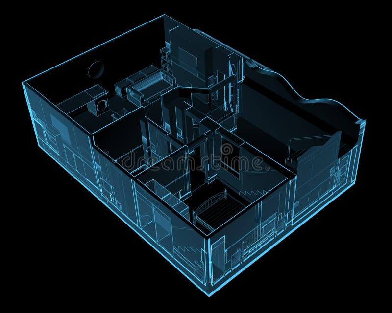 Σπίτι που απομονώνεται στο Μαύρο διανυσματική απεικόνιση