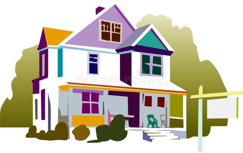 σπίτι που διευκρινίζεται ζωηρόχρωμο ελεύθερη απεικόνιση δικαιώματος