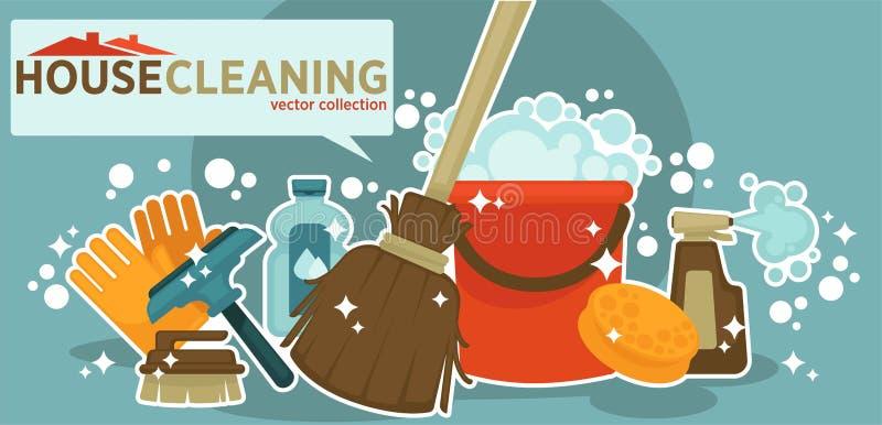 Σπίτι που καθαρίζει τη διανυσματική συλλογή του λαμπρού εξοπλισμού εργασίας απεικόνιση αποθεμάτων