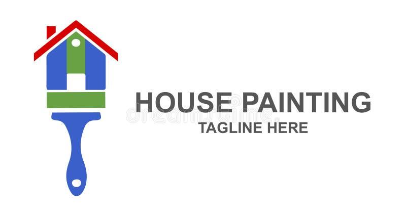 Σπίτι που χρωματίζει και που αναδιαμορφώνει το σχέδιο λογότυπων διανυσματική απεικόνιση