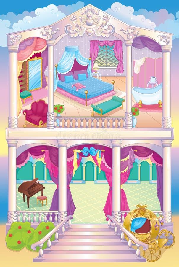 Σπίτι πριγκηπισσών πολυτέλειας παραμυθιού διανυσματική απεικόνιση