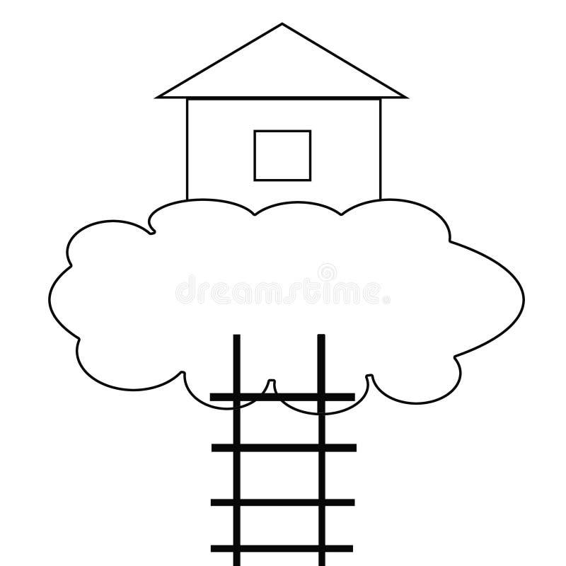 Σπίτι σε ένα σύννεφο και σκαλοπάτι στον ουρανό ελεύθερη απεικόνιση δικαιώματος