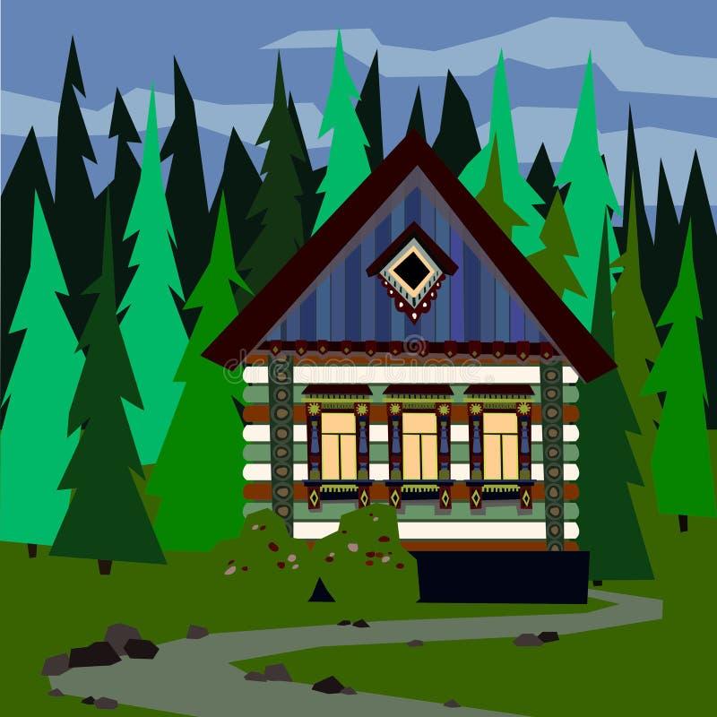 Σπίτι σε μια πυκνή δασική εύκολη editable διανυσματική απεικόνιση απεικόνιση αποθεμάτων