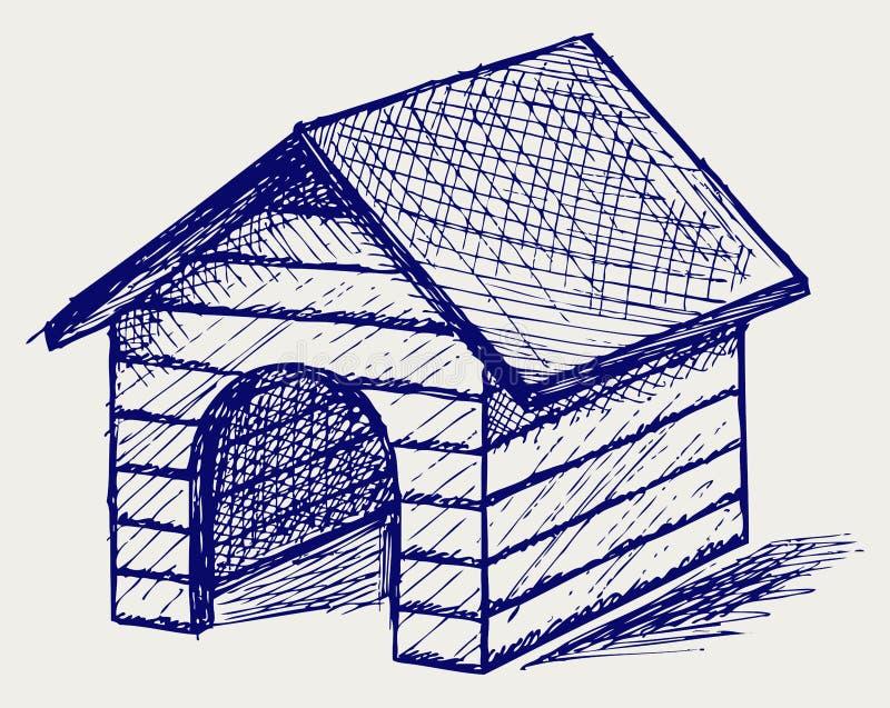 Σπίτι σκυλιών. Ύφος Doodle διανυσματική απεικόνιση