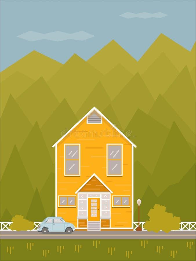 Σπίτι στα βουνά ελεύθερη απεικόνιση δικαιώματος