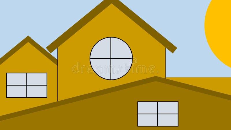 Σπίτι στα προάστια - ξημερώματα - Clipart στοκ φωτογραφία με δικαίωμα ελεύθερης χρήσης