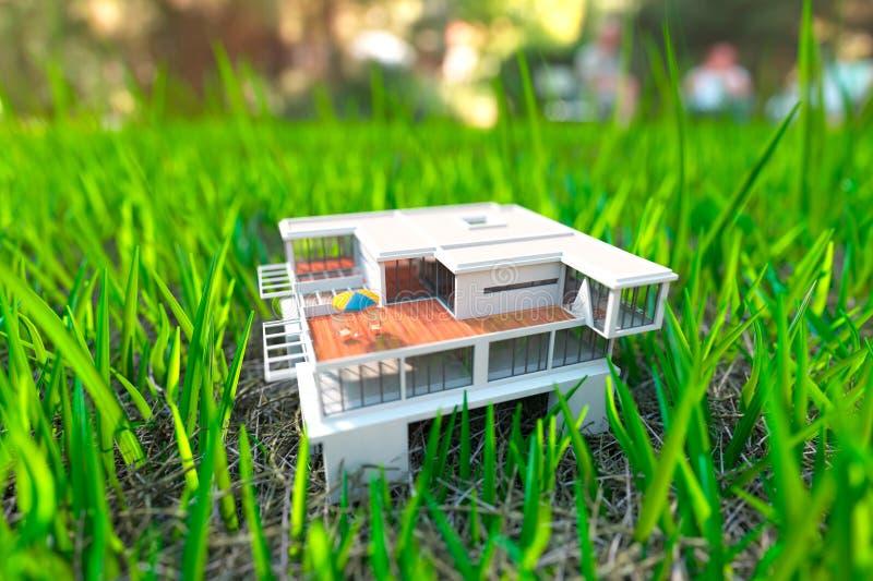 Σπίτι στην πράσινη χλόη απεικόνιση αποθεμάτων