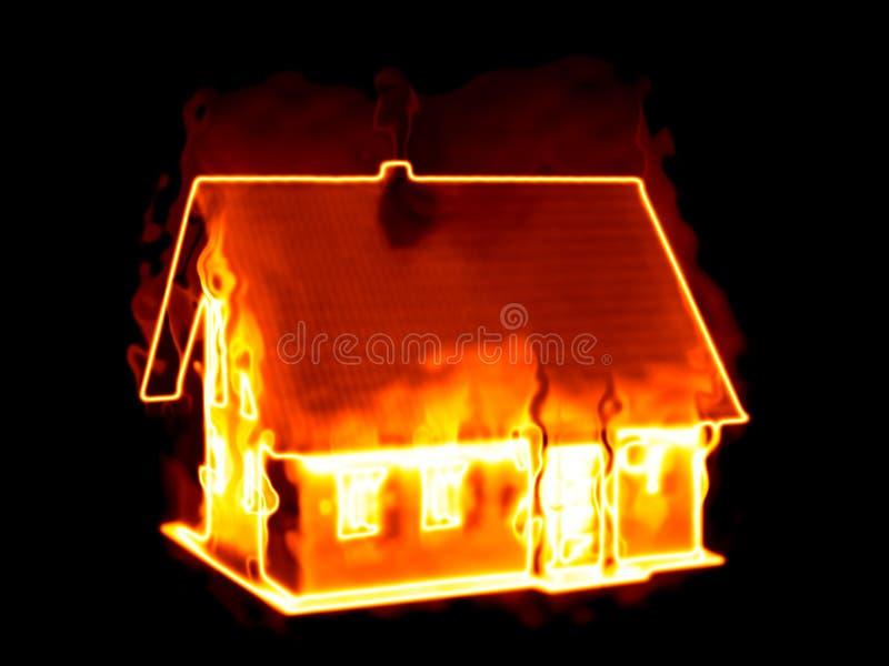 Σπίτι στην πυρκαγιά στοκ φωτογραφία
