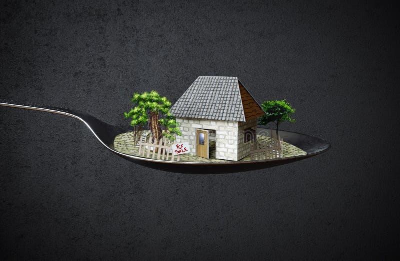 Σπίτι στη φωτογραφία επιχειρησιακής έννοιας ακίνητων περιουσιών κουταλιών στοκ εικόνες
