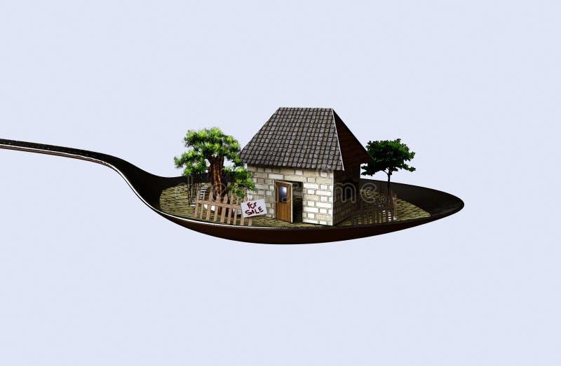 Σπίτι στη φωτογραφία επιχειρησιακής έννοιας ακίνητων περιουσιών κουταλιών στοκ φωτογραφίες με δικαίωμα ελεύθερης χρήσης