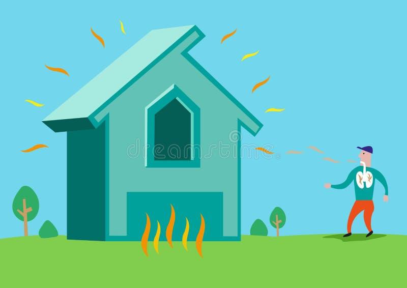 Σπίτι στις φλόγες ή με την ακτινοβολία αμιάντων ή ραδονίου Τέχνη συνδετήρων Editable απεικόνιση αποθεμάτων
