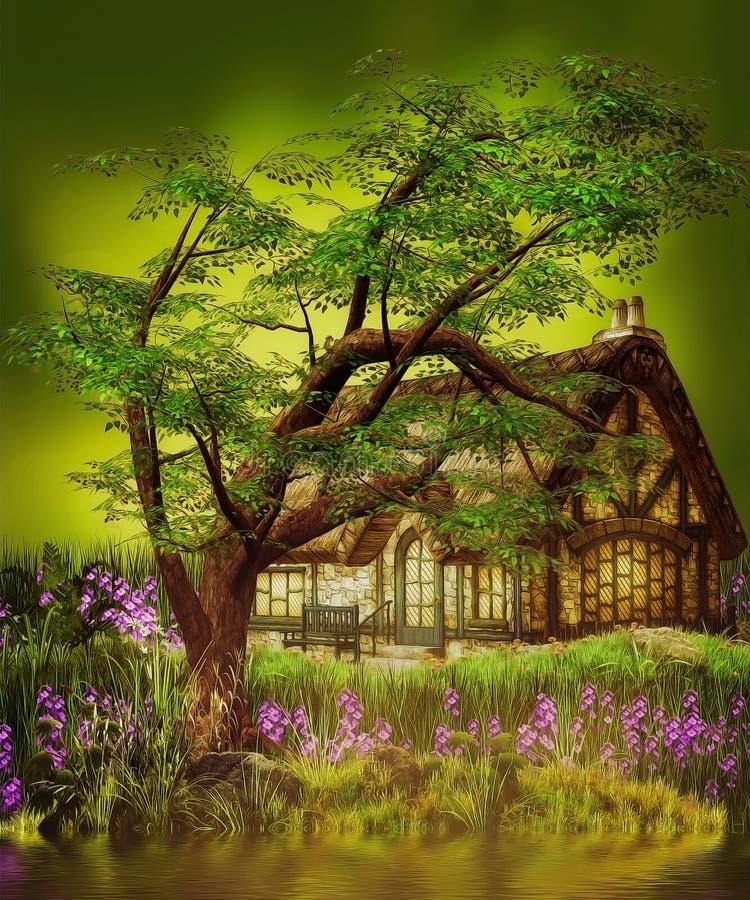 Σπίτι στοιχειών φαντασίας διανυσματική απεικόνιση