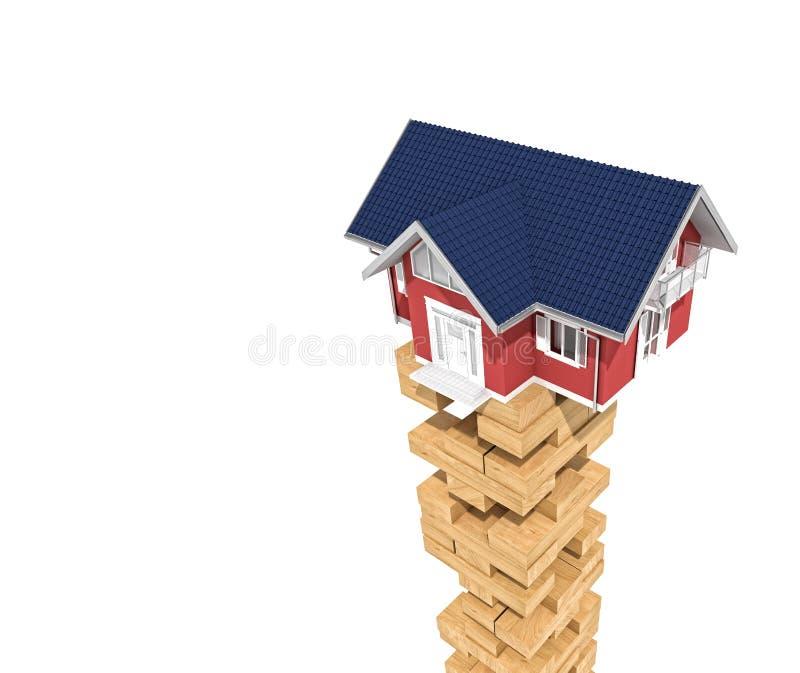 Σπίτι στον ξύλινο φραγμό πύργων απεικόνιση αποθεμάτων