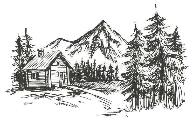 Σπίτι συρμένο διανυσματικό σκίτσο απεικόνισης τοπίων βουνών στο χέρι απεικόνιση αποθεμάτων