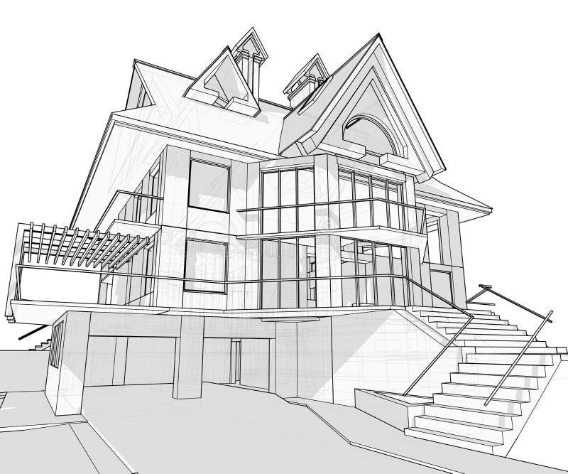 σπίτι σχεδιαγραμμάτων αρχιτεκτονικής διανυσματική απεικόνιση