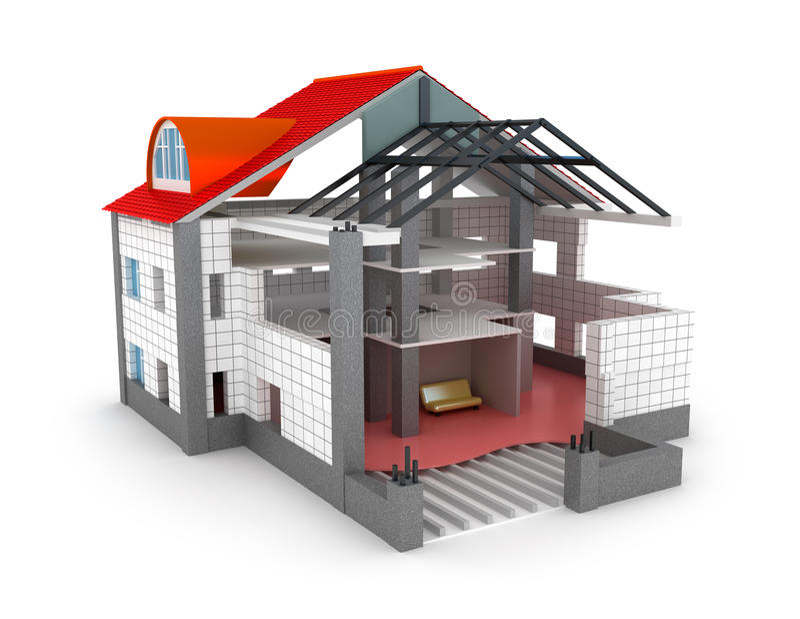 Σπίτι σχεδίων αρχιτεκτονικής στο λευκό ελεύθερη απεικόνιση δικαιώματος