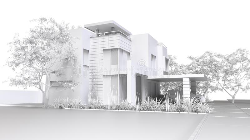 σπίτι σύγχρονο Μονοχρωματική τρισδιάστατη απεικόνιση του άσπρων πλαστικών σπιτιού και του κήπου με το γκαράζ τρισδιάστατη απόδοση απεικόνιση αποθεμάτων