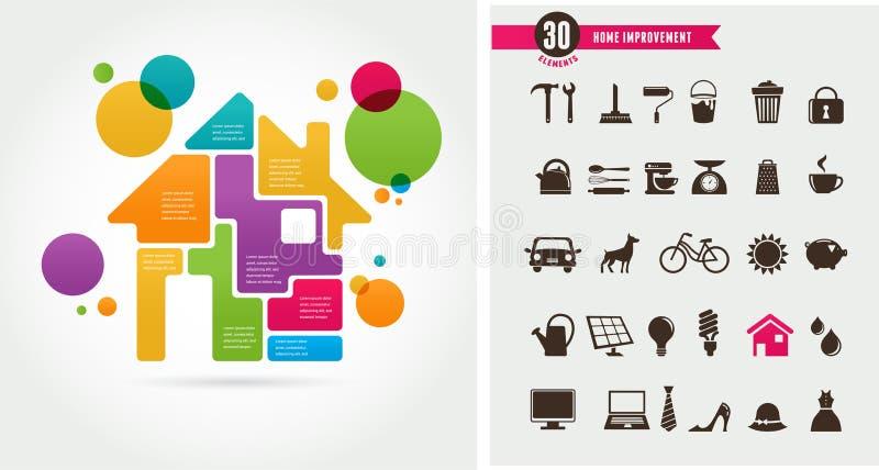 Σπίτι - σύνολο infographics και εικονιδίων απεικόνιση αποθεμάτων