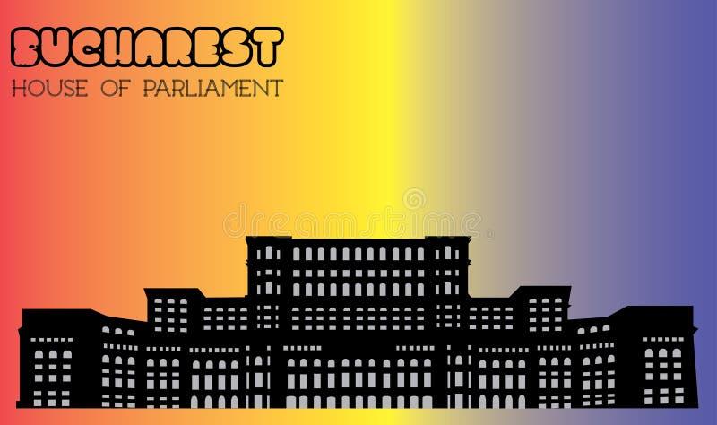 Σπίτι του Κοινοβουλίου, Βουκουρέστι, σκιαγραφία, διάνυσμα στοκ εικόνα
