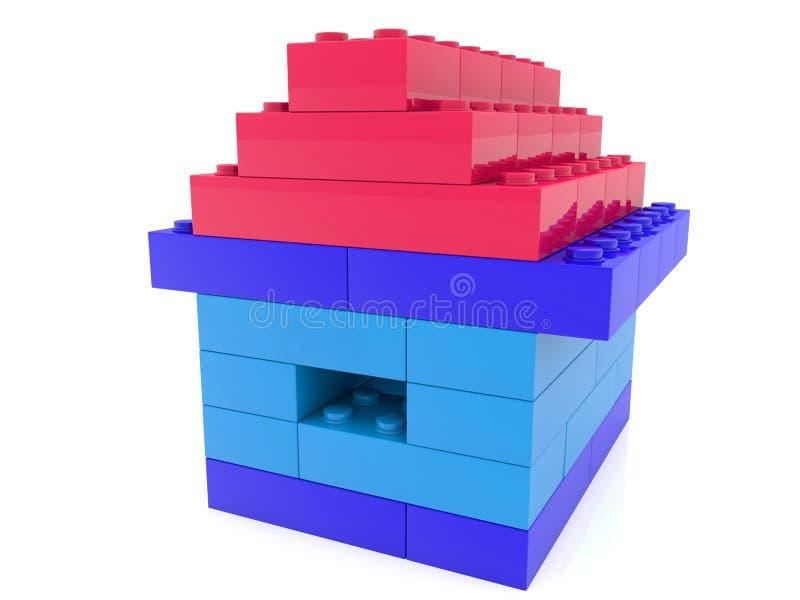Σπίτι τούβλων παιχνιδιών με την κόκκινη στέγη ελεύθερη απεικόνιση δικαιώματος