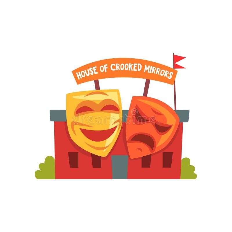 Σπίτι των στριμμένων καθρεφτών Ζωηρόχρωμο εικονίδιο λούνα παρκ Στοιχείο ψυχαγωγίας για την οικογενειακή διασκέδαση Επίπεδο διανυσ διανυσματική απεικόνιση