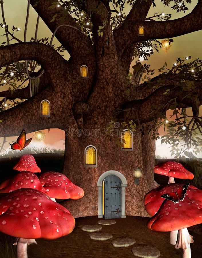 Σπίτι φαντασίας μέσα σε ένα παλαιό δέντρο ελεύθερη απεικόνιση δικαιώματος