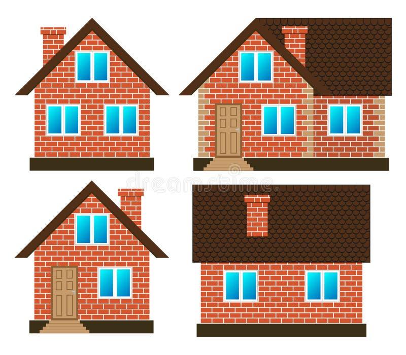 Σπίτι φιαγμένο από κόκκινα τούβλα στις διαφορετικές πλευρές, καθορισμένο διάνυσμα που απομονώνεται απεικόνιση αποθεμάτων