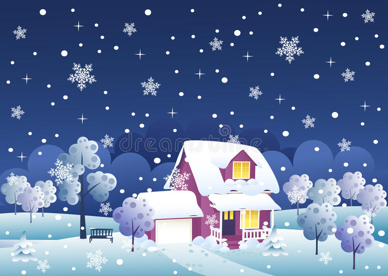 Σπίτι χειμερινής νύχτας απεικόνιση αποθεμάτων