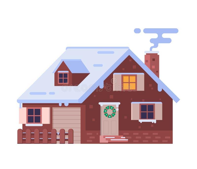 Σπίτι χειμερινών σαλέ με την καπνίζοντας καπνοδόχο διανυσματική απεικόνιση