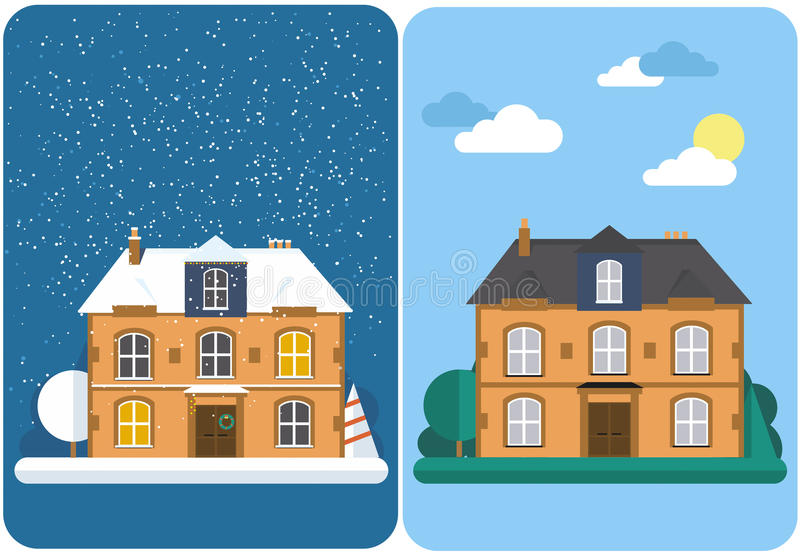 Σπίτι χειμώνα και καλοκαιριού Οικογενειακό προαστιακό σπίτι Διανυσματική επίπεδη απεικόνιση απεικόνιση αποθεμάτων