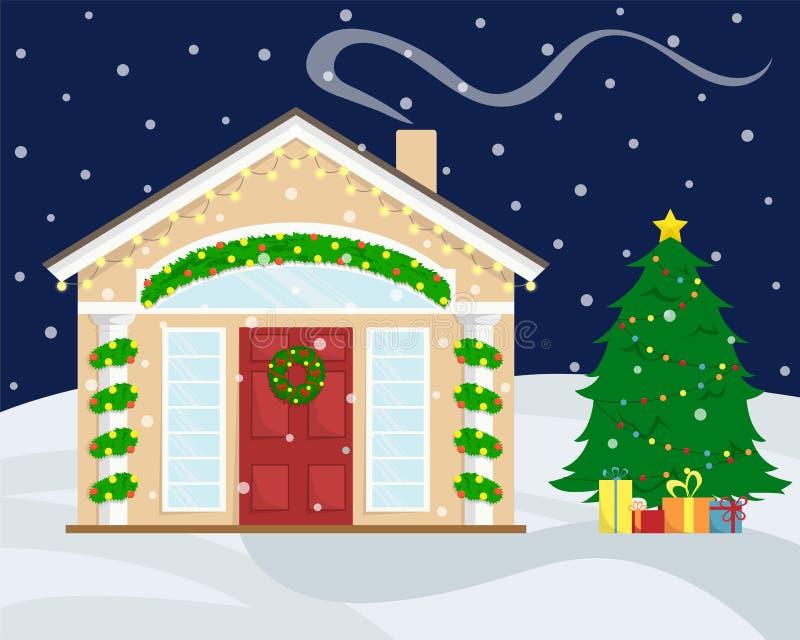 Σπίτι Χριστουγέννων με τη νέα διακόσμηση έτους οι διακοπές αγοριών βάζουν το χειμώνα χιονιού απεικόνιση αποθεμάτων