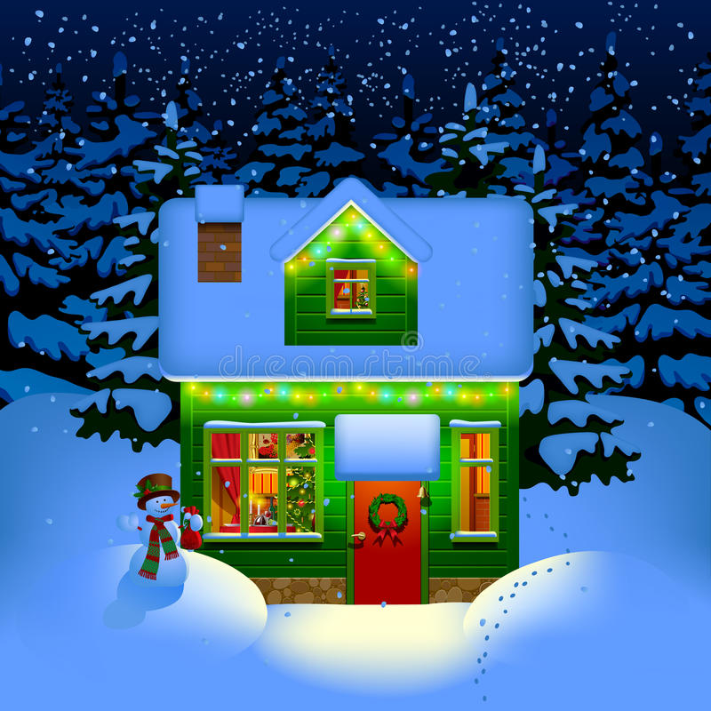 Σπίτι Χριστουγέννων νύχτας απεικόνιση αποθεμάτων
