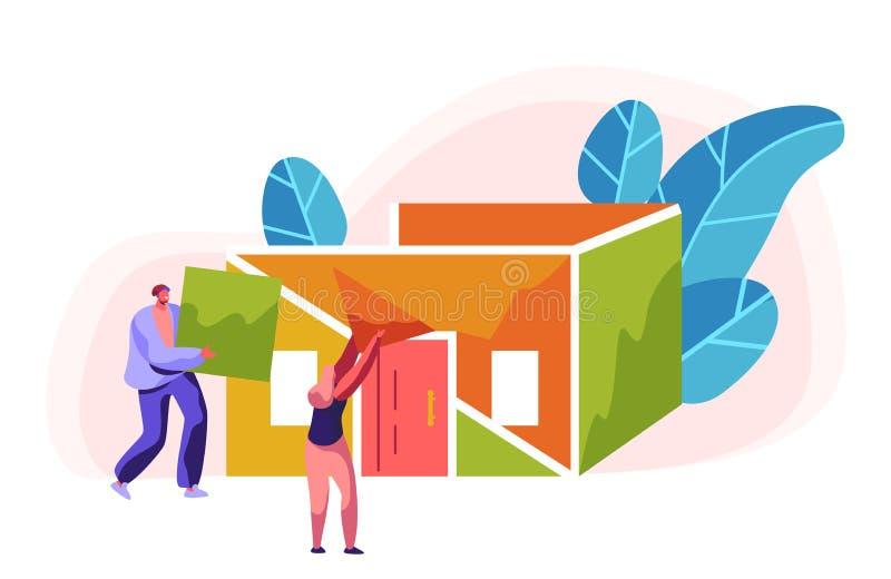 Σπίτι χρώματος κατασκευής οικοδόμων ανδρών και γυναικών Στέγη εγκατάστασης διαδικασίας στην οικοδόμηση Επιστάτης προσώπων στο κρά ελεύθερη απεικόνιση δικαιώματος