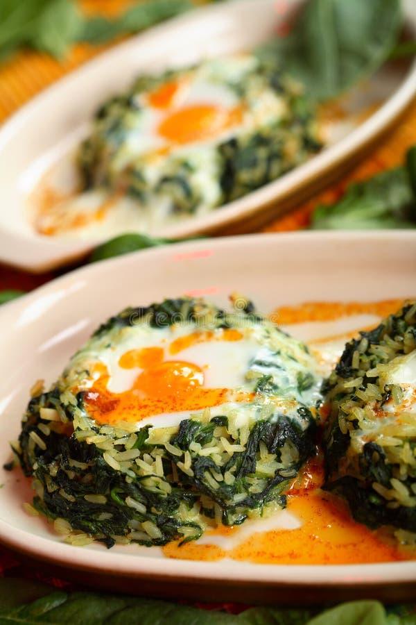 σπανάκι ρυζιού αυγών στοκ φωτογραφίες