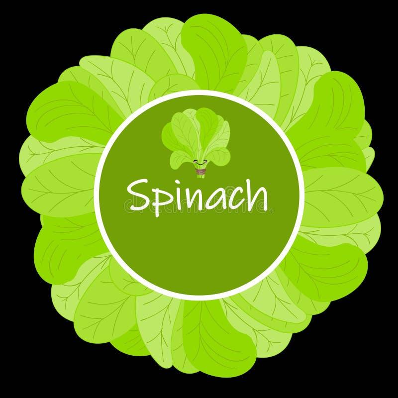 Σπανάκι Χαριτωμένος διανυσματικός χαρακτήρας τροφίμων κινούμενων σχεδίων vegan πρωτεϊνικός - σύνολο που απομονώνεται στο λευκό ελεύθερη απεικόνιση δικαιώματος