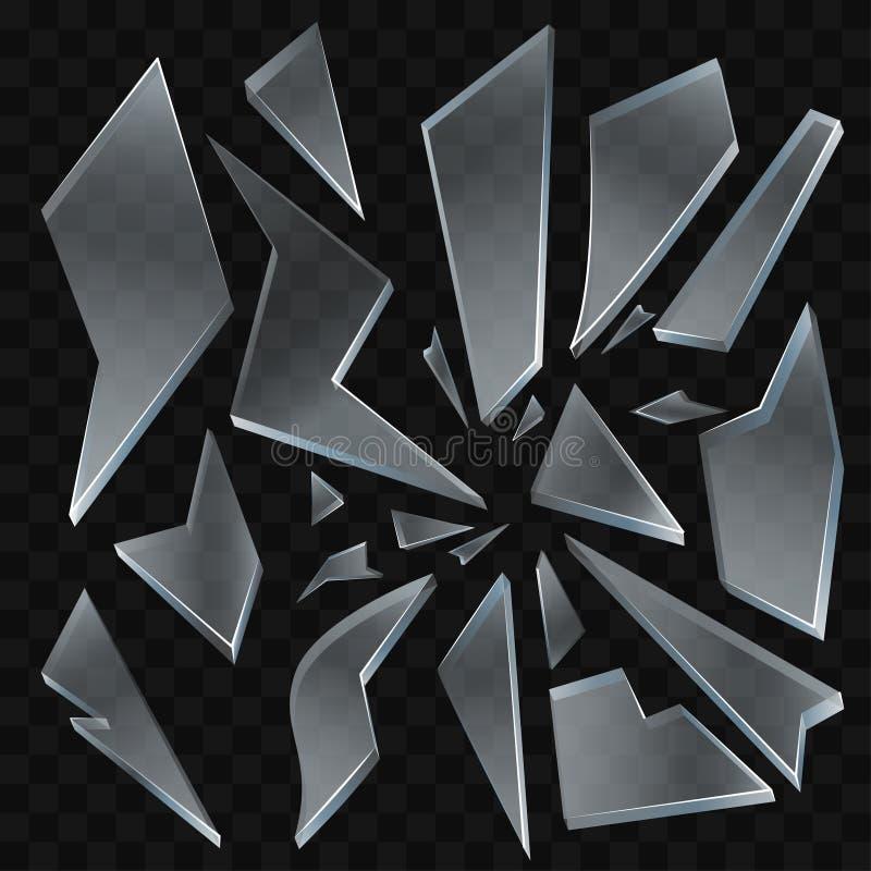 Σπασμένα shards γυαλιού - μοντέρνα διανυσματική ρεαλιστική απομονωμένη τέχνη συνδετήρων διανυσματική απεικόνιση