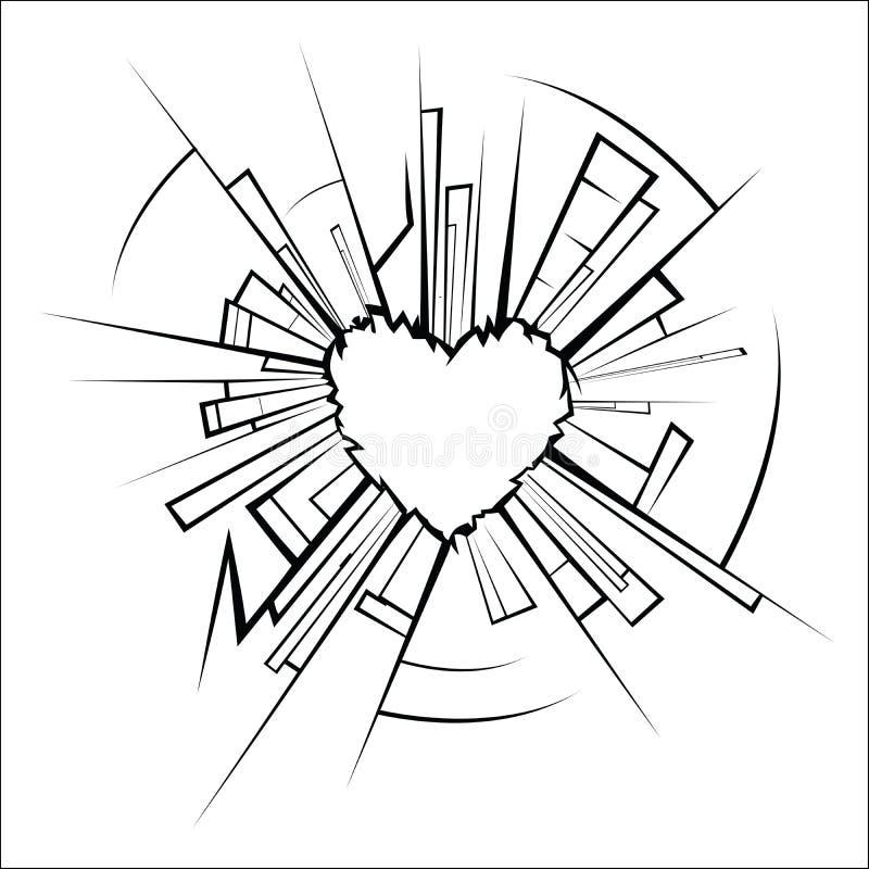Σπασμένες γυαλί και καρδιά ελεύθερη απεικόνιση δικαιώματος